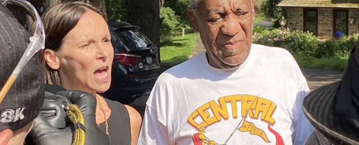 Attorney Jennifer Bonjean and Bill Cosby speak outside of Bill Cosby's home on 30 June 2021 in Cheltenham, Pennsylvania. Cosby was released from prison after a court overturned his sex assault conviction. Picture: Michael Abbott/Getty Images/AFP