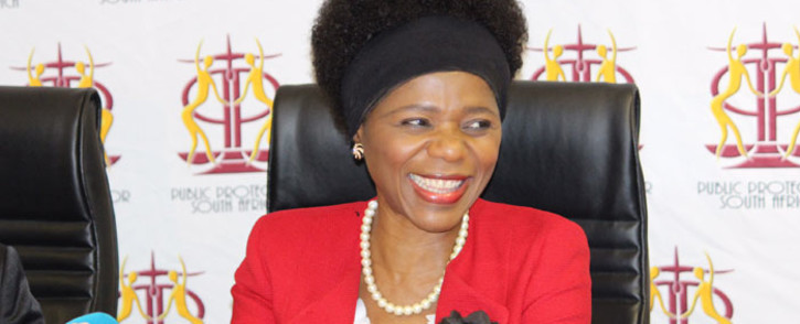 Public Protector Thuli Madonsela briefs the media on the outcome of the Nkandla matter in the Con Court. Picture: Christa Eybers/EWN.