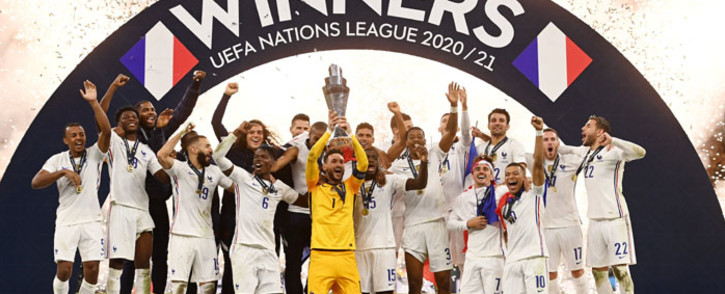 France celebrates winning the Uefa Nations league after defeating Spain in the final on 10 October 2021. Picture: @EURO2024/Twitter
