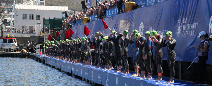Elite athletes get ready for the swim leg of the Discovery Triathlon World Cup which took place in Cape Town on 10 February 2019. Picture: Bertram Malgas/EWN