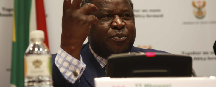 FILE: Finance Minister Tito Mboweni addressing the media prior to his annual Budget speech on 20 February 2018 in Cape Town. Picture: EWN