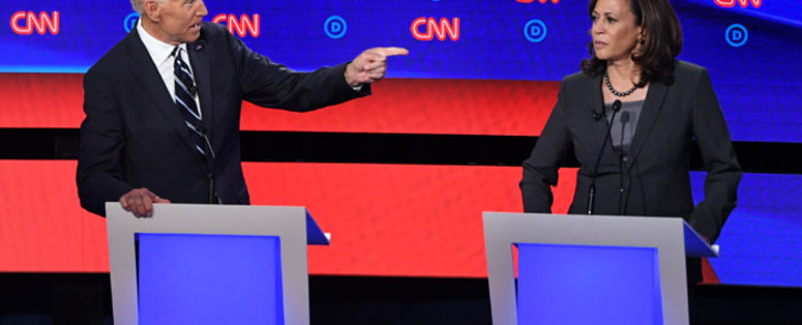 Democratic presidential hopeful Former Vice President Joe Biden (L) gestures toward US Senator from California Kamala Harris during the second round of the second Democratic primary debate of the 2020 presidential campaign season hosted by CNN at the Fox Theatre in Detroit, Michigan on 31 July 2019. Picture: AFP