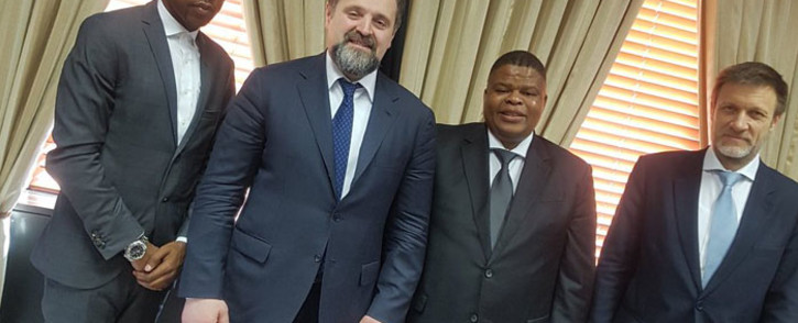 David Mahlobo hosted his counterpart from the Russia Federation Minister Sergei Donsky on 8 February 2018. Picture: Twitter/ @Energy_ZA