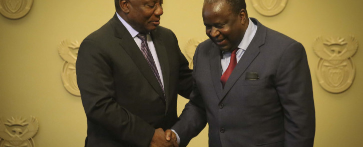 President Cyril Ramaphosa congratulates new Finance Minister Tito Mboweni after being sworn in on 9 October 2018. Picture: Cindy Archillies/EWN