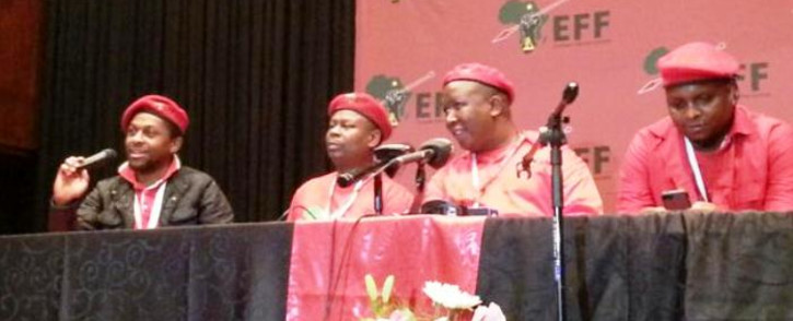 EFF leaders during a media briefing on 14 December 2014. Picture: Twitter via @EconFreedomZa.
