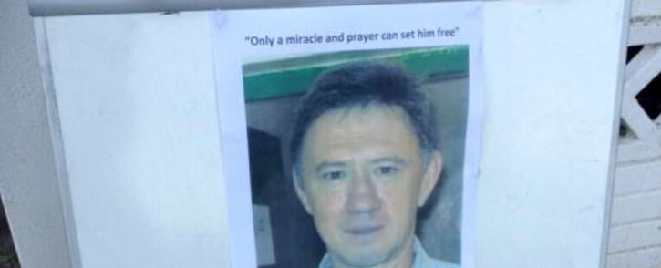 A picture of Pierre Korkie is pinned to a notice board at the Christ Church Mayfair in Johannesburg during an inter-faith prayer service calling for his release, 7 February 2014. Picture: Mia Lindeque/EWN.