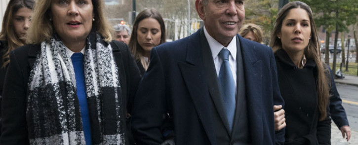 Former FIFA vice president Juan Angel Napout (C) of Paraguay arrives November 13, 2017 at the Brooklyn Federal Courthouse in New York. Picture: AFP