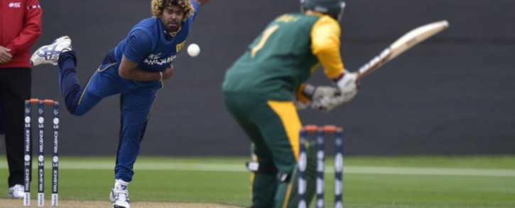 Sri Lanka's Lasith Malinga bowling against Proteas in their warm-up match ahead of the Cricket World Cup. Picture: Sri Lanka official Facebook page.