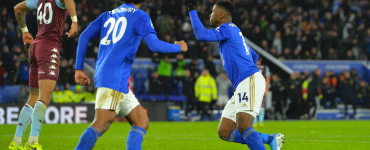 Leicester City's Kelechi Iheanacho (right) celebrates his goal against Aston Villa in their Caraboa Cup seminal first leg match on 8 January 2020. Picture: @LCFC/Twitter