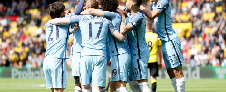 FILE: Manchester City players celebrate their 5-0 victory at Watford. Picture: Twitter/@ManCity.