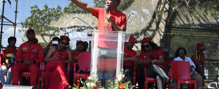 EFF leader Julius Malema addresses supporters on Human Rights Day in Sharpeville. Picture: @EFFSouthAfrica/Twitter