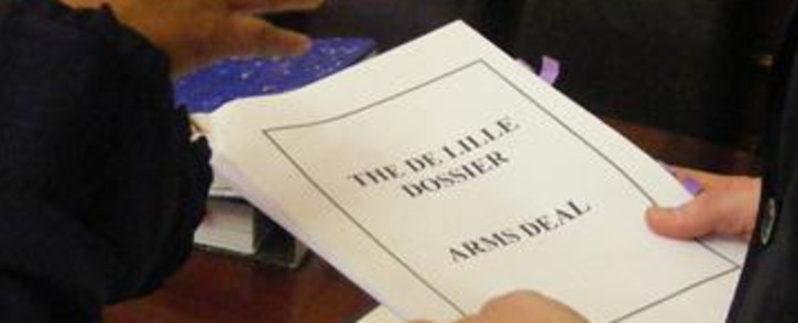 The arms deal dossier by politician Patricia De Lille. Picture: EWN
