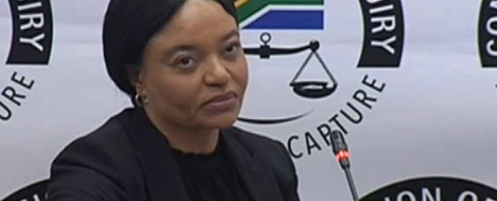 A YouTube screengrab shows former SAA CEO Sizakele Mzimela at the state capture commission on 26 June 2019.