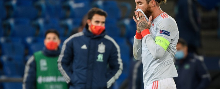 Spain's defender Sergio Ramos leaves at the end of the UEFA Nations League football match between Switzerland and Spain at St. Jakob-Park stadium in Basel, on November 14, 2020. Picture: AFP