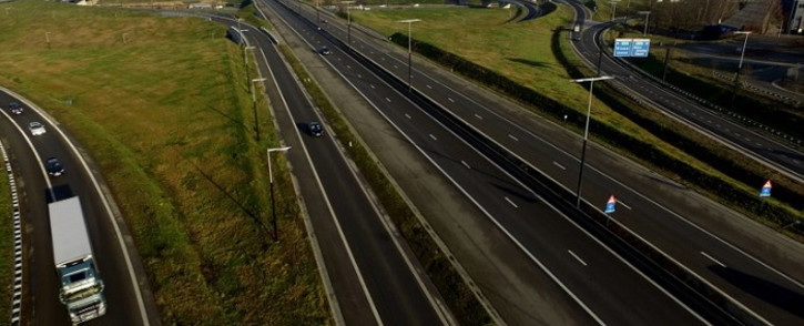 An aerial view shows the highway near the Belgium city of Lummen on 13 February 2019, during a national strike. Belgium slowed to a standstill as a national strike closed airports, shuttered businesses and caused major disruption to railways. Picture: AFP