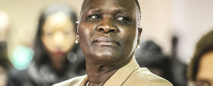 Suspended National Police Commissioner Riah Phiyega waits for judges to enter the room to hear closing arguments at the inquiry into her fitness to hold office in Centurion on 1 June 2016. Picture: Reinart Toerien/EWN.