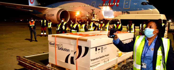 The first batch of the Johnson & Johnson COVID-19 vaccine arrived at OR Tambo International Airport in Johannesburg on 16 February 2021. Picture: @GovernmentZA/Twitter