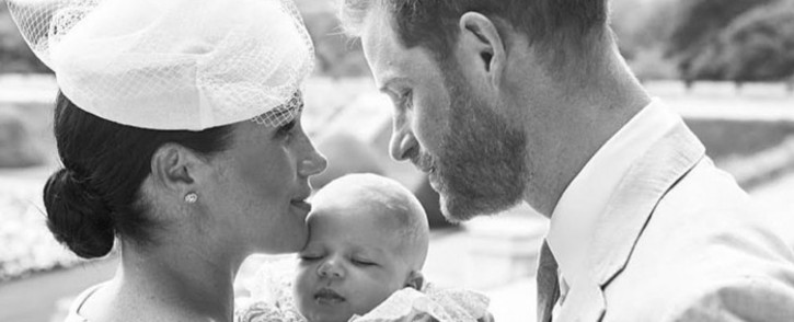 Prince Harry and Duchess Meghan's son Archie Harrison Mountbatten-Windsor has been christened. Picture: @PHarry_Meghan/Twitter.