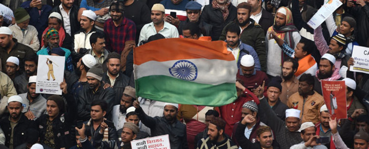 FILE: Protesters gather at the Jama Masjid mosque at a demonstration against India's new citizenship law in New Delhi on 20 December 2019. Picture: AFP