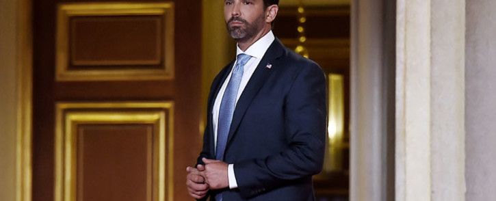 In this file photo taken on 24 August 2020, Donald Trump Jr. arrives to speak during the first day of the Republican convention at the Mellon auditorium in Washington, DC. Picture: AFP