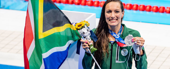 Tatjana Schoenmaker with her silver medal after placing second in the Olympic women's 100m breaststroke final on 27 July 2021. Picture: Anton Geyser/SASPA/SASI