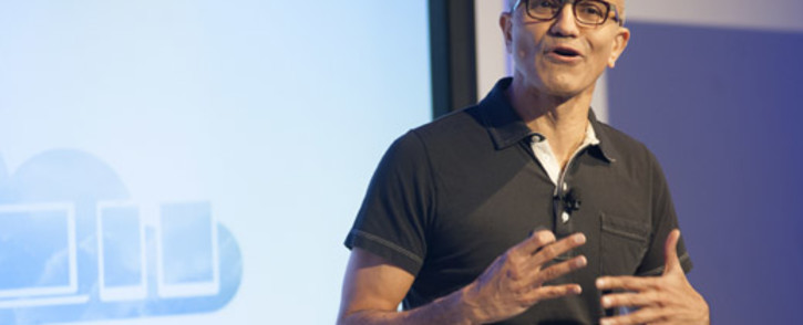 Satya Nadella, CEO of Microsoft, speaks at a media event in San Francisco, California on 27 March, 2014. Picture: AFP.
