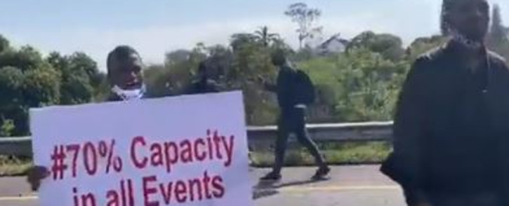 A group of artists and entertainers blocked the roadway earlier and staged a mini-concert on the N3 in KZN on Wednesday, 2 September 2020. Picture: Screengrab/Twitter video