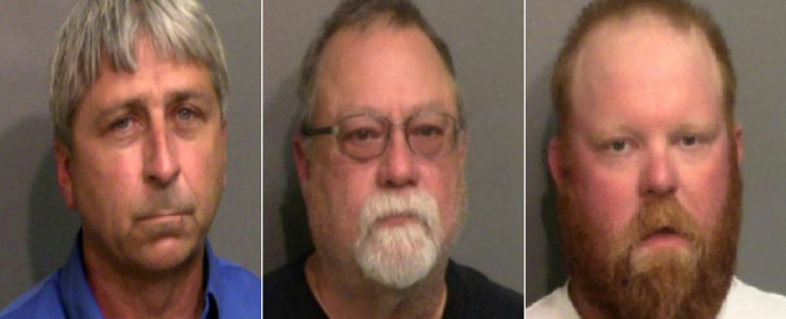 This file combination of handout photos created on 24 June 2020 using booking photos released by the Glynn County Sheriff's Office in Georgia shows (from L) William Roderick Bryan, Gregory McMichael and his son, Travis McMichael. Three white men in the US state of Georgia will go on trial Monday in the high-profile shooting death of a Black jogger that sparked a national outcry and helped fuel last summer's social justice protests. Picture: AFP