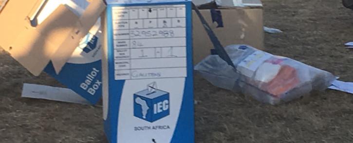 Ballot box found in IEC tent in Port Elizabeth. Picture: Simon Bezuidenhout/iWitness