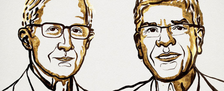 An illustration of US economists William Nordhaus and Paul Romer, the 2018 winners of the Nobel Prize for Economic. Picture: @NobelPrize/Twitter