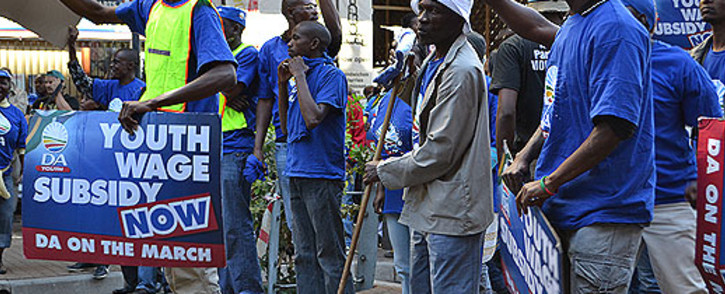 DA Youth Wage Subsidy protesters make their way to Cosatu House. Picture: Andrea van Wyk.