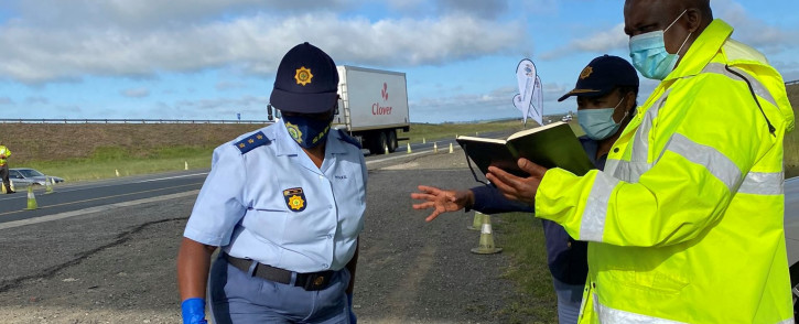 Gauteng Transport MEC Jacob Mamabolo at one of the COVID-19 joint inter-provincial permanent static roadblocks across the province. Picture: @jacobmamablolo/Twitter