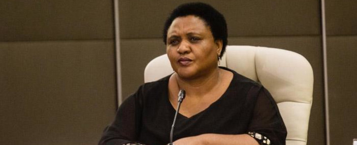 Minister of Agriculture, Land Reform and Rural Development Thoko Didiza at an inter-ministerial briefing on 24 March 2020 detailing how government will respond ahead of and during the 21-day lockdown announced by President Cyril Ramaphosa. Picture: Kayleen Morgan/EWN.