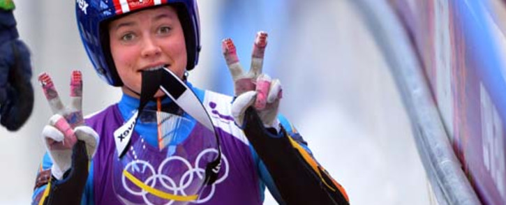 RUSSIAN FEDERATION, Rosa Khutor : US Kate Hansen gestures during a Women Luge training session at the Sanki Sliding Centre in Rosa Khutor on February 8, 2014, during the Sochi Winter Olympics. Picture: AFP.
