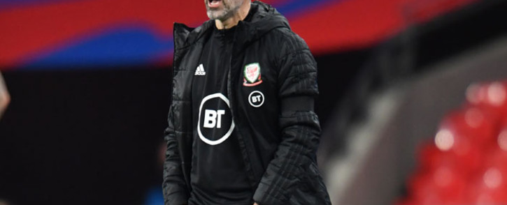 Wales' head coach Ryan Giggs gestures on the touchline during the international friendly football match between England and Wales at Wembley Stadium in north London on 8 October 2020. Picture: AFP