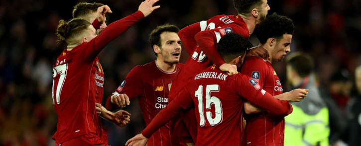 Liverpool players celebrate a win over Everton in their FA Cup match at Anfield on 5 January 2020. Picture: @LFC/Twitter