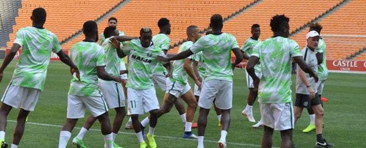 Super Eagles players during a training session. Picture: @ngsupereagles/Facebook.com.