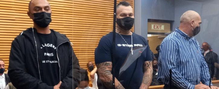 Alleged crime underworld figure Nafiz Modack (L) and Zane Kilian (C) in court on 14 May 2021. Picture: Kevin Brandt/Eyewitness News.