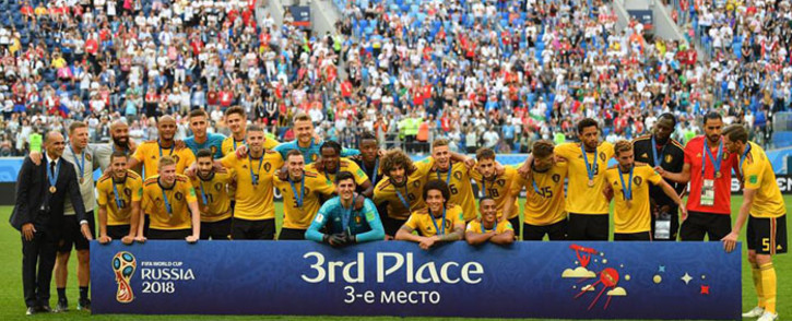 Belgium team celebrate with their medals after the match. Picture: @fifaworldcup/Facebook.com.