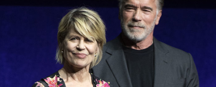 In this file photo taken on 4 April, 2019 actors Linda Hamilton (L) and Arnold Schwarzenegger speak on stage during the CinemaCon Paramount Pictures Exclusive Presentation at the Colosseum Caesars Palace in Las Vegas, Nevada. Picture: AFP