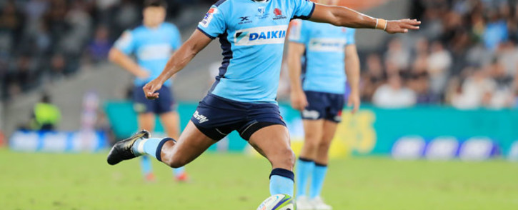 FILE: Waratahs' Kurtley Beale attempts a kick at goal during the Super Rugby match between Australia's Waratahs and South Africa's Lions at BankWest Stadium in Sydney on 28 February 2020. Picture: AFP