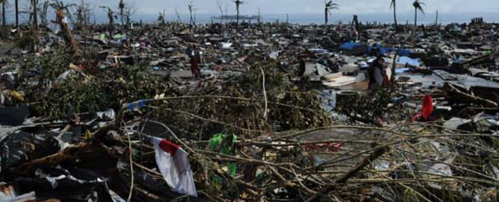 A general view of flattened houses along the coastal area in Tacloban, on the eastern island of Leyte on 10 November  2013 after Super Typhoon Haiyan swept over the Philippines. Picture: AFP