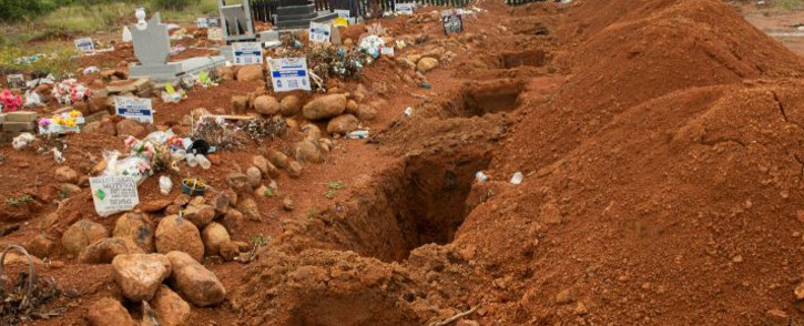 Open graves at a cemetery in Hebron, north of Pretoria, South Africa, ahead of the funeral of a person who died from COVID-19 complications. Picture: Boikhutso Ntsoko/Eyewitness News