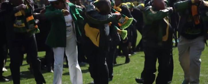 The African National Congress (ANC) leadership dabbing at the Siyanqoba Rally on 30 July 2016. Picture: EWN.
