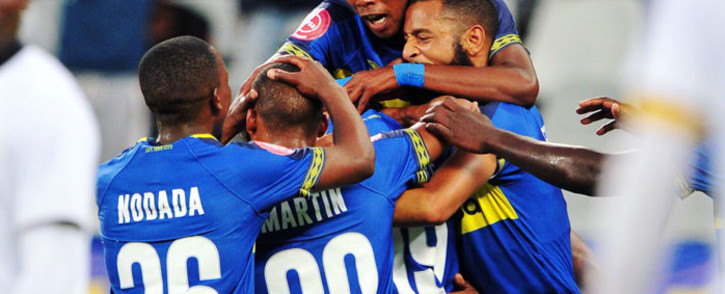 Cape Town City FC players celebrate their 5-0 victory over Free State Stars at the Cape Town Stadium on 16 January 2019. Picture: @CapeTownCityFC/Twitter