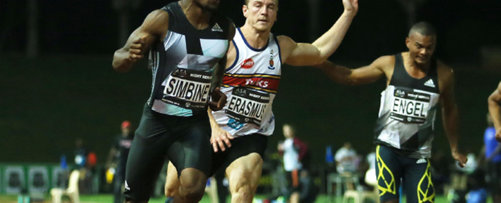 Akani Simbine ran the fasted time in the 100m when he won in 9.96s at the ASA Night Series Meeting at Pilditch. Picture: Reg Caldecott.