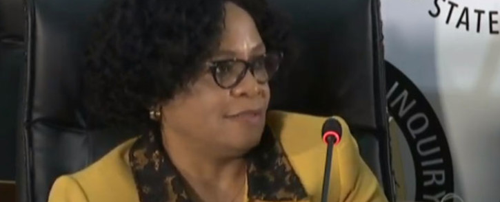 A screengrab of former Cabinet minister Nomvula Mokonyane giving evidence at the state capture inquiry on 3 September 2020. Picture: SABC/YouTube