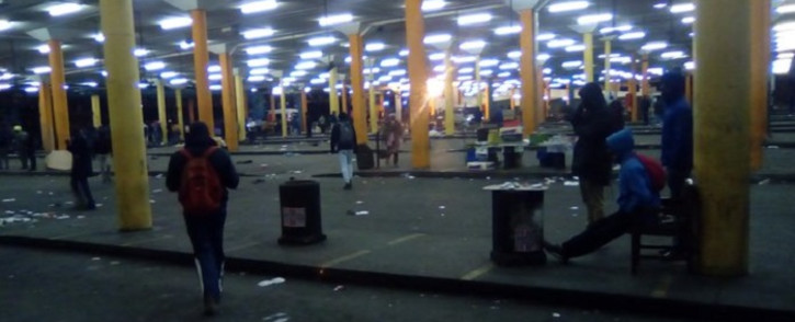 Noord Taxi Rank in Johannesburg was empty on Monday morning, 22 June 2020 as taxi drivers affiliated to Santaco went on strike. Picture: @Bulelwa04464329/Twitter