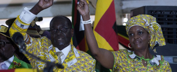 Zimbabwean President Robert Mugabe and his wife, Grace. Picture: AFP.