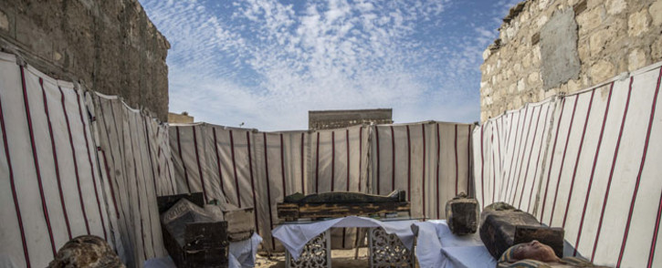 Unearthed adorned wooden sarcophagi are displayed during the official announcement of the discovery by an Egyptian archaeological mission of a new trove of treasures at Egypt's Saqqara necropolis south of Cairo, on 17 January 2021. Picture: AFP